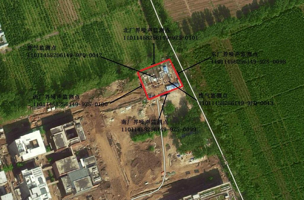 北京沙河邮电大学锅炉房监测点位置示意图