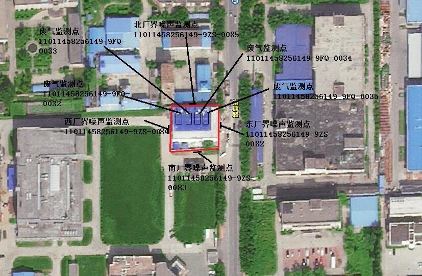 富康路锅炉房监测点位置示意图