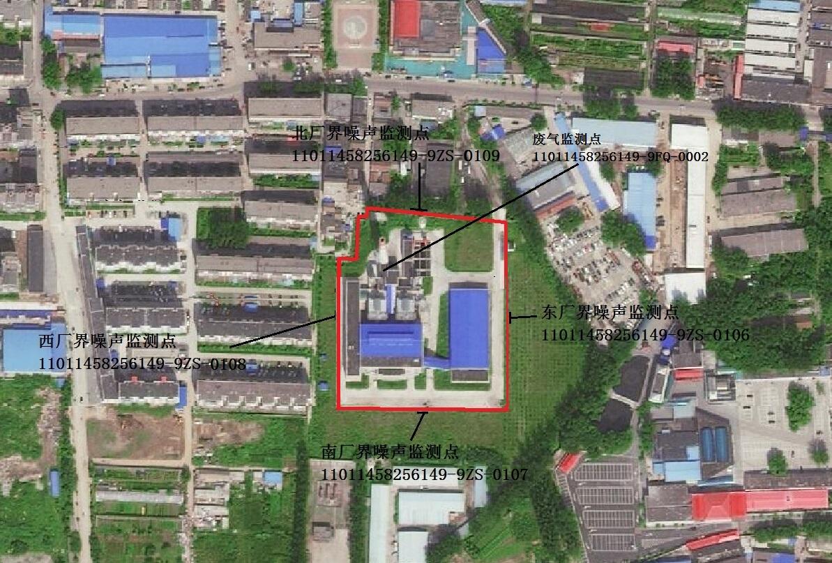 郝庄供热厂监测点位置示意图