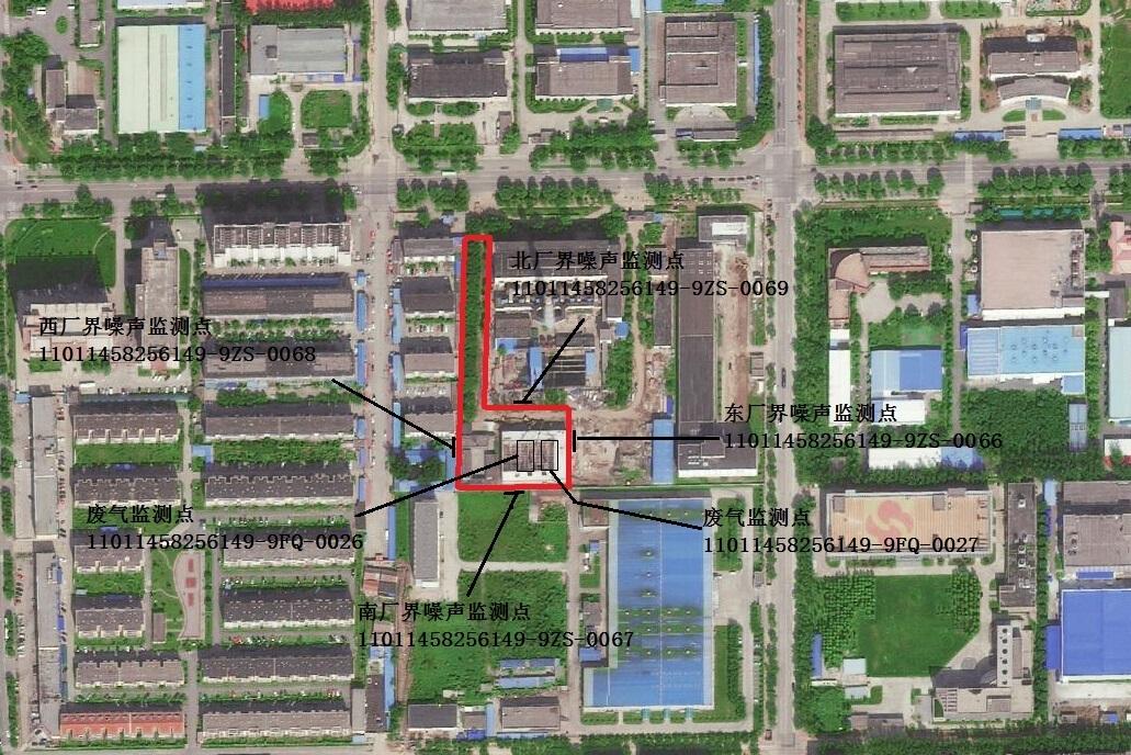 科技园区锅炉房监测点位置示意图