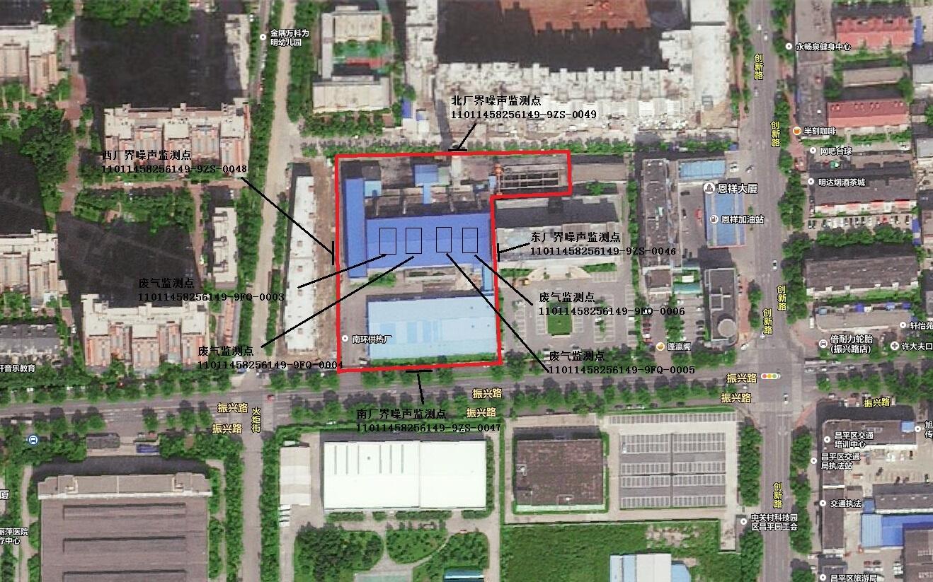 南环供热厂监测点位置示意图