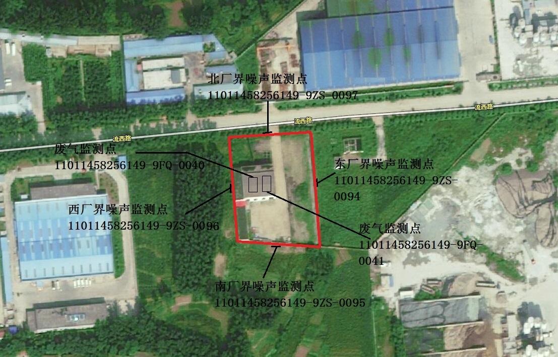 小汤山工业园区锅炉房监测点位置示意图