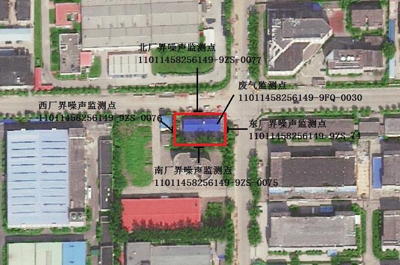 星火街调峰锅炉房监测点位置示意图