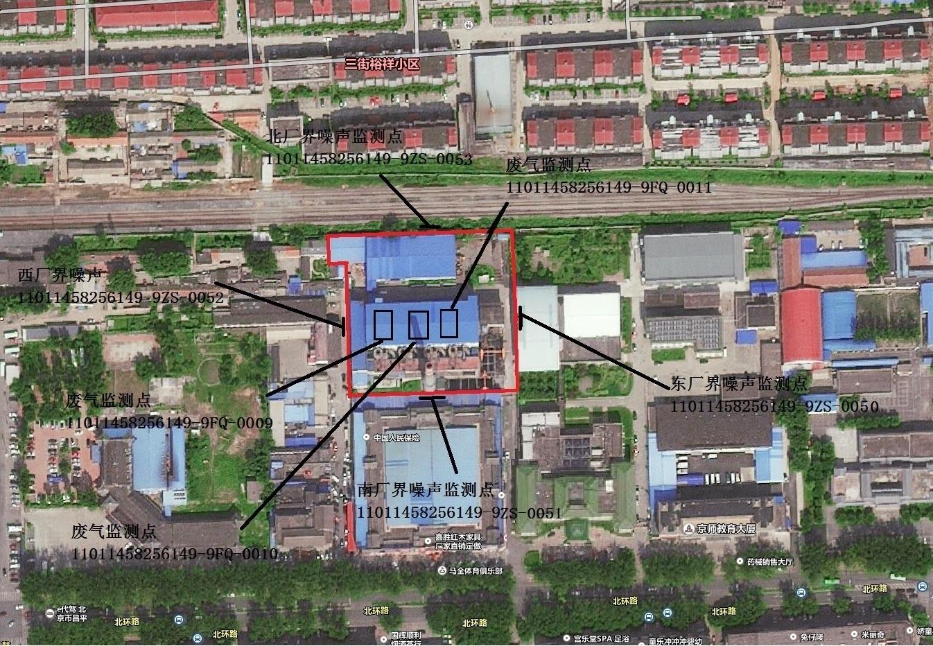北环供热厂监测点位置示意图